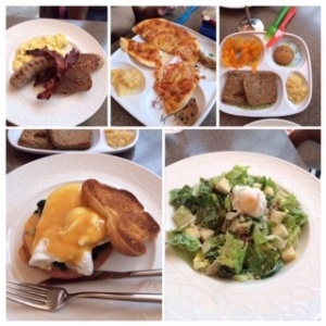 (Top left - clockwise) - Grilled sausage, bacon, scrambled eggs and French toast for Joel. Kids meal Pizza for Jah. Kids meal Meatloaf for Bella. Caesar Salad with poached egg to share. Eggs Benedict with ham and spinach for me.