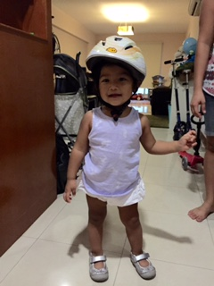 Bella in her brother's old Yepp helmet