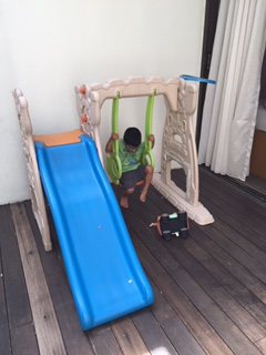 Jah tries out the swing