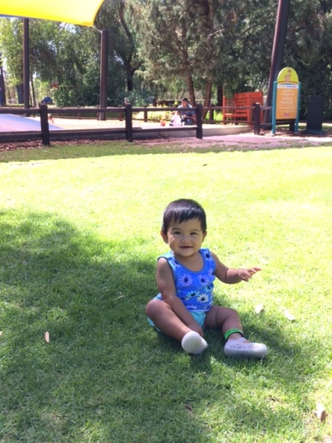 Enjoying and exploring the green green grass in Perth at 10 months old