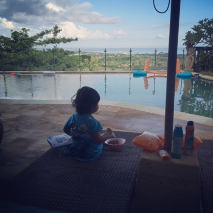Bella enjoying your breakfast and the sunrise...this girl knows how to enjoy...
