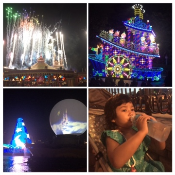 Dreamlights parade from Toon Town (I did not zoom) and Fantasmic Show at Disneysea