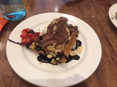 Everyone had their own waffle with soft serve ice-cream