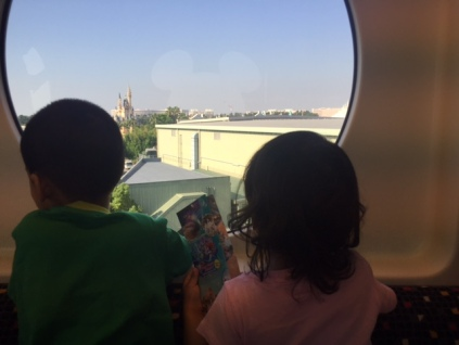 Enjoying the view of Disneysea while enroute to Disneyland