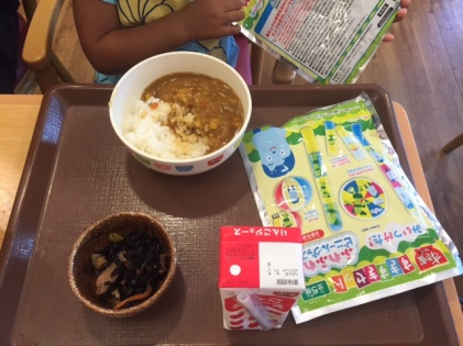Simple kiddy sets and curry rice for Bella who discovered her love for curry rice in Japan