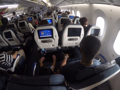 3-3-3 Config..fortunately Bella and Joel had a free seat next to them on this flight..